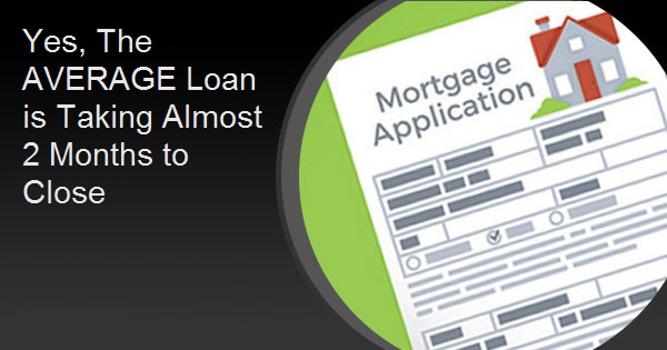 Yes, The AVERAGE Loan is Taking Almost 2 Months to Close
